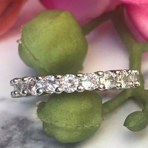 White gold over 925 diamond eternity wedding band